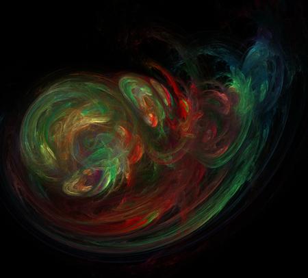 green lines: image of one Digital Fractal on Black Color