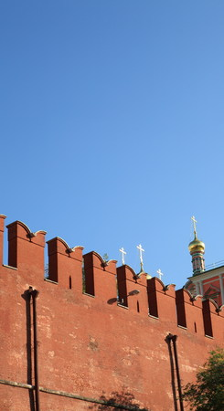 Kremlin wall on sky background Stock Photo
