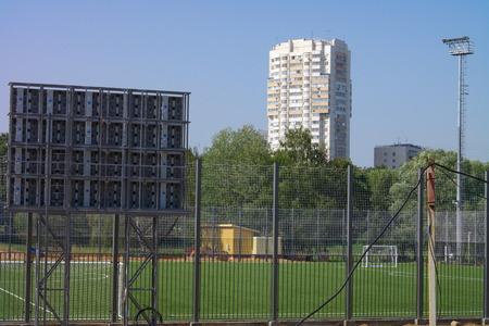 football field near fence at day sunny day Stock Photo
