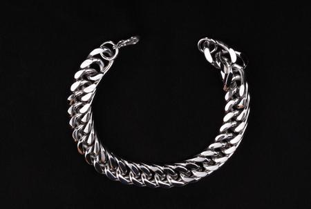 Men's  Stainless Silver Bracelet 스톡 콘텐츠 - 113668692