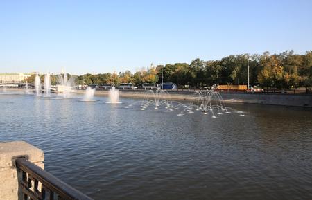 many fountain on river Stockfoto