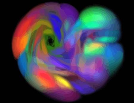 one Illustration of digital fractal with multicolor