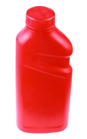Red Plastic Bottle Isolated Archivio Fotografico