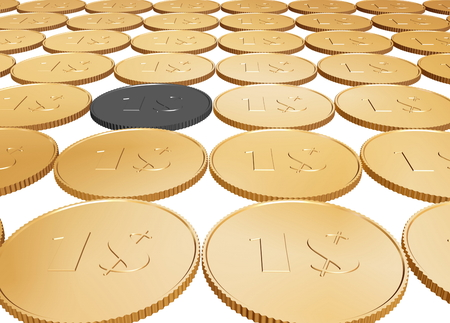 gold 1$ coin carpet on white background