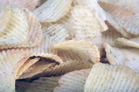 many of potato chips horizontal  texture Stock Photo
