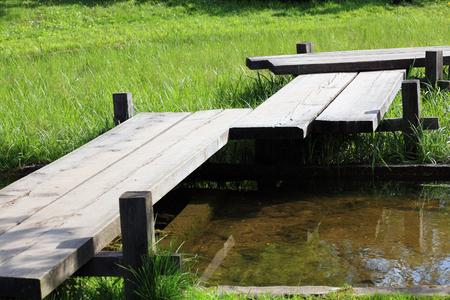 wood bridge in japan garden
