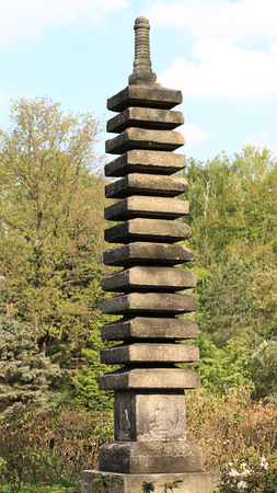 stone column in japan garden