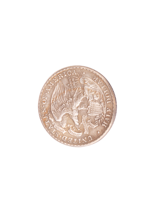 half dollar coin isolated on white background