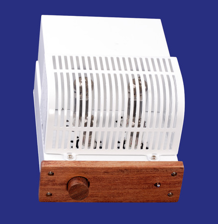 Vacuum Tube Amplifier Isolated on blue 写真素材 - 119236906
