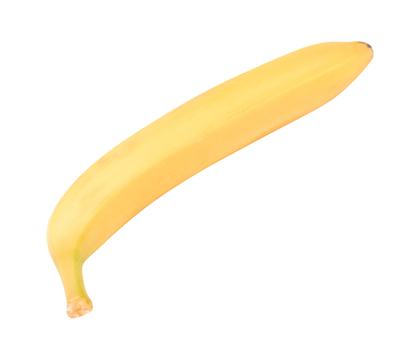 one raw Yellow Banana Isolated at dry sunny day