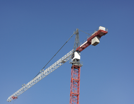 Crane Tower on Sky Background Stock Photo