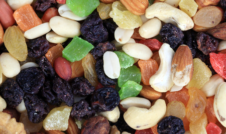 set of dried fruit at dry sunny summer day