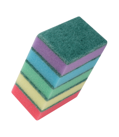 Colorful foam rubber sponges isolated on a white background