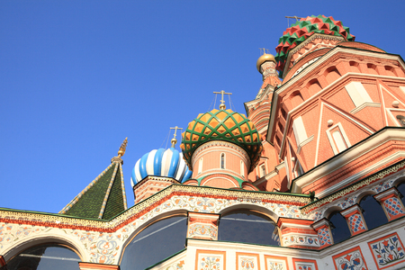 Blessed basil cathedral against the blue sky background Banco de Imagens