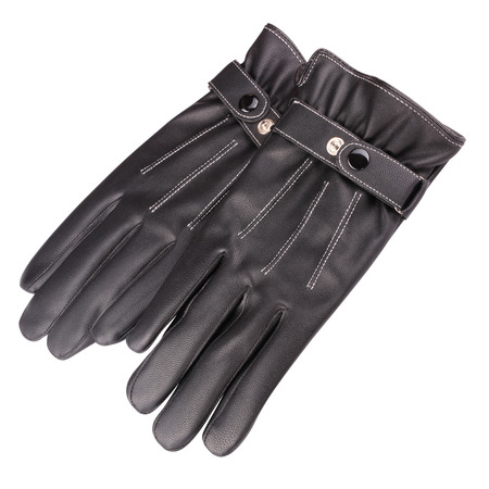 A pair of black leather gloves isolated on a white background