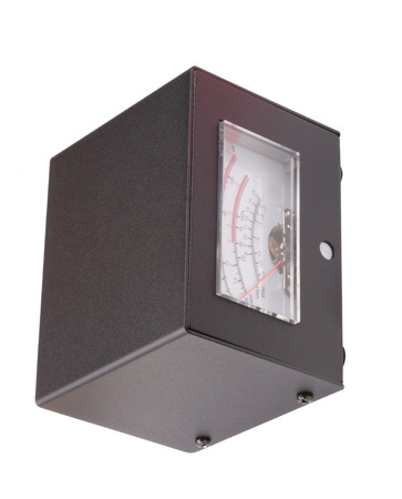 Analog Meter in Black Metal Case Isolated