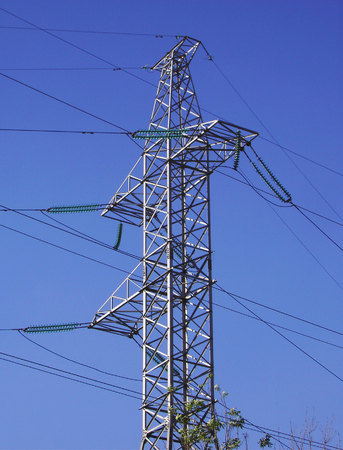 transmission equipment on blue sky