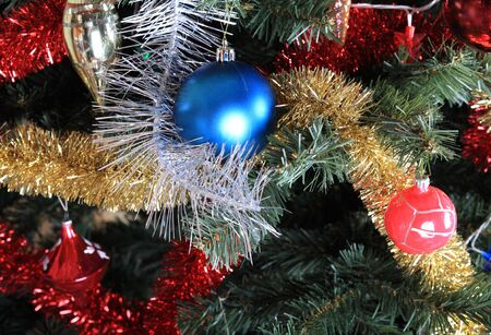 toys on green christmas fir Stok Fotoğraf