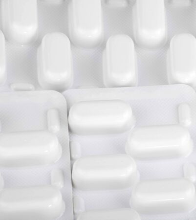 many tablets in blister background Stock Photo - 126996621