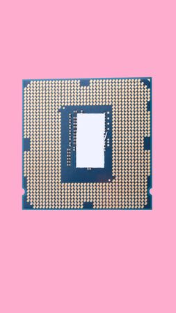 central Processor unit isolated on pink background at dry sunny day