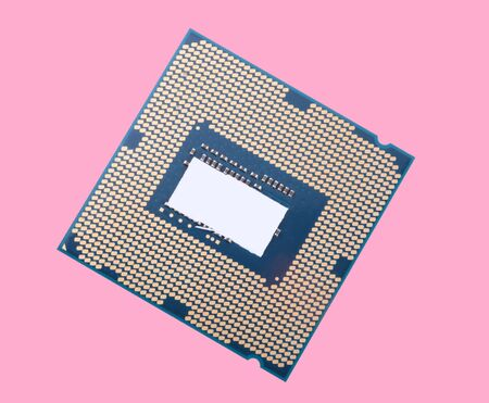 central Processor unit isolated on pink background Stockfoto