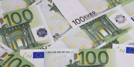 europe euros banknote of hundreds 写真素材 - 129474217