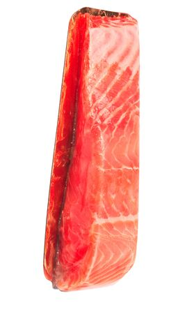 piece of red fish fillet isolated on white Stock Photo