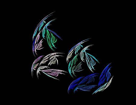 image of one Digital Fractal on Black Color Reklamní fotografie - 131847276