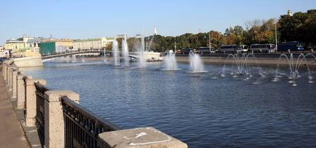 many fountain on river Фото со стока