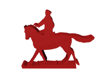 silhouette of military horseman on white background, 3D isolated