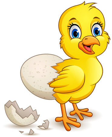 cartoon little chick with egg Foto de archivo - 116619774