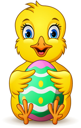cartoon little chick holding easter egg Foto de archivo - 116619778