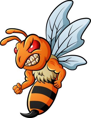 Angry bee mascot. Vector illustration Foto de archivo - 124365923