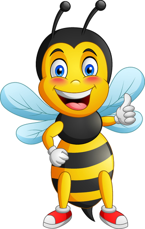 Cartoon cute bee. Vector illustration