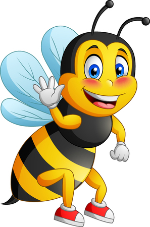 Cute bee cartoon flying. vector illustration