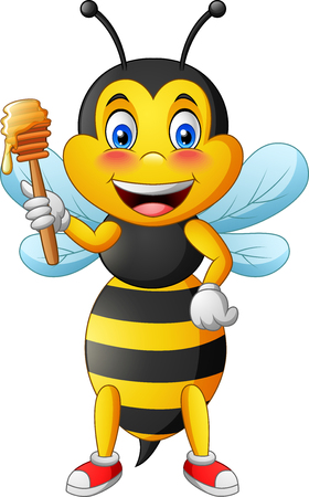 Cute bee cartoon holding honey. vector illustration