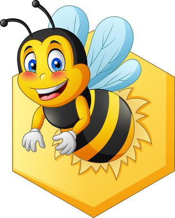 Cartoon cute bee. Vector illustration Foto de archivo - 124365934