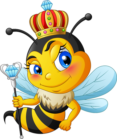 Queen bee cartoon with crown. vector illustration