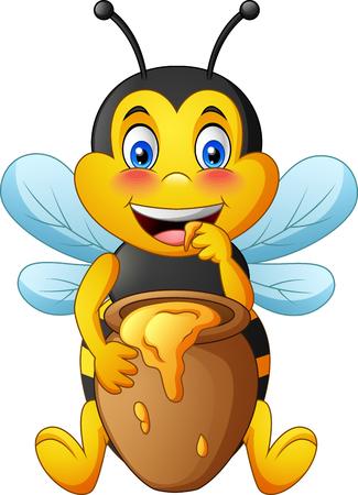 Abeja linda de dibujos animados con olla de barro llena de miel. ilustración vectorial Ilustración de vector