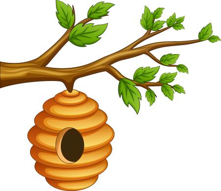 Cartoon honeycomb hanging on a tree branch. vector illustration Foto de archivo - 124365940
