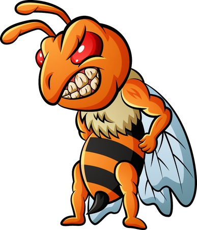 Angry bee mascot.  illustration Foto de archivo - 124366107