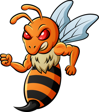Angry bee ready to attack.  illustration Foto de archivo - 124366108