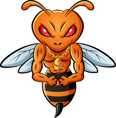 Strong bee mascot. illustration Foto de archivo - 124366110