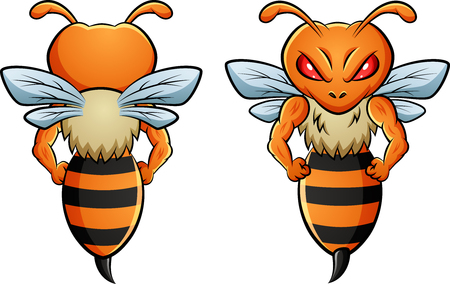 Bee mascot with two different sides.  illustration Foto de archivo - 124366111
