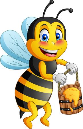 Cartoon bee carries honey.  illustration Foto de archivo - 124366113