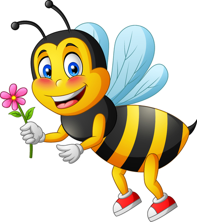 Cartoon cute bee carry flower.  illustration