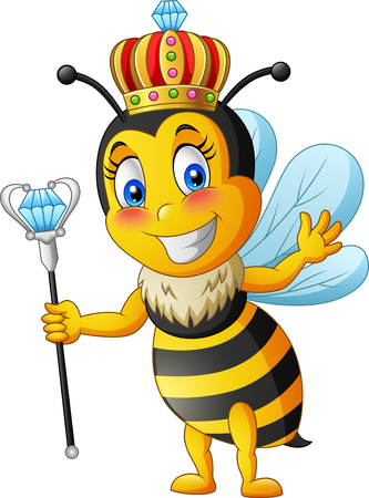 Queen bee cartoon. illustration Foto de archivo - 124366118