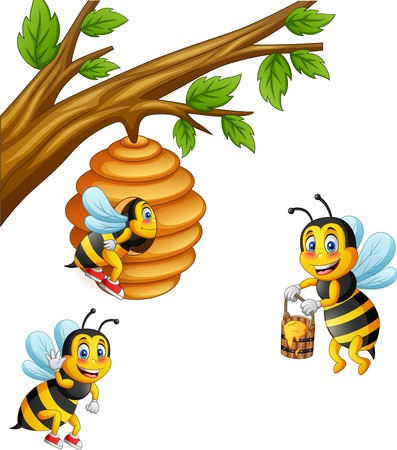 Cartoon bee carry honey and honeycomb. illustration Foto de archivo - 124366120