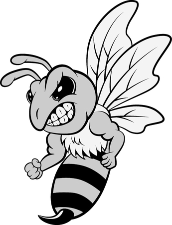 Bee mascot character isolated on white background. illustration Foto de archivo - 124366125
