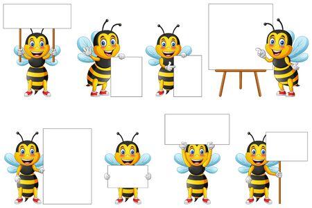 Cartoon cute bee character set and blackboard for writing. vector illustration Foto de archivo - 129710495